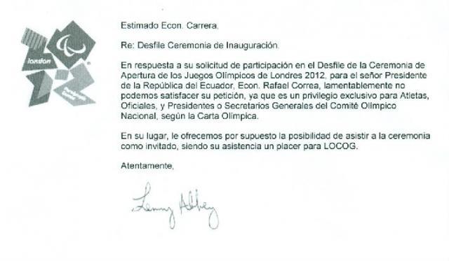 Presidente Rafael Correa quiso desfilar con atletas olímpicos ecuatorianos en Londres