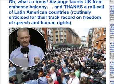 ¡Qué circo!: Show de Assange indigna a la prensa británica