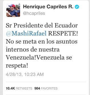 Capriles pide a Correa que no se meta en los asuntos internos de Venezuela