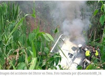 Otro helicóptero Dhruv se accidenta, ahora en Tena