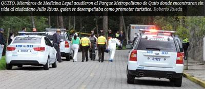 Encuentran sin vida a promotor turístico en Parque Metropolitano de Quito