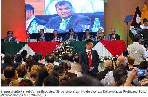 Correa insta a los manabitas a convertirse en los nuevos montoneros para defender la Revolución Ciudadana