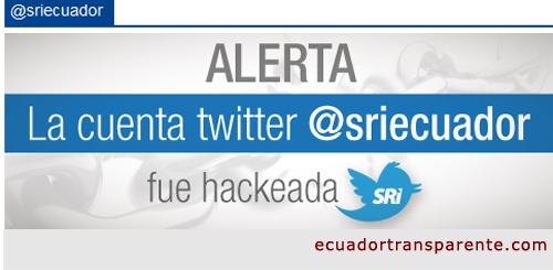 Alertan hackeo al Twitter del SRI