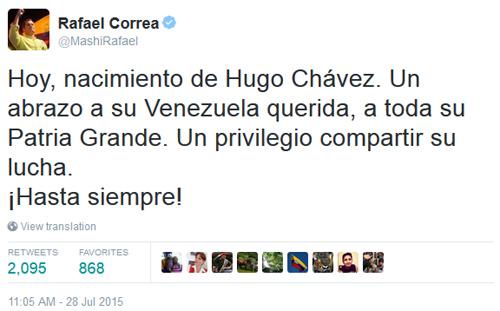 Correa recuerda el nacimiento de Hugo Chávez