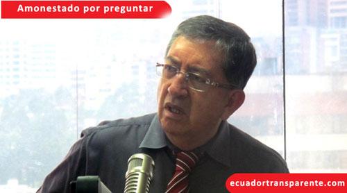 Periodista Gonzalo Rosero, amonestado por preguntar