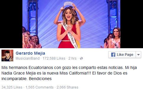 Hija de cantante Gerardo Mejía es la nueva Miss California