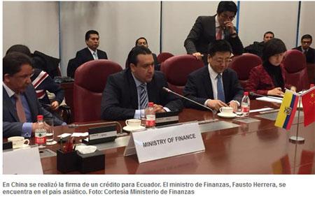 Crédito chino de 970 millones para el Ecuador