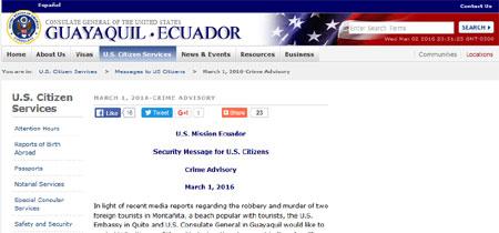 Consulado estadounidense alerta sobre la amenaza de la delincuencia en Ecuador