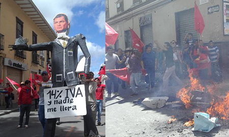 En Loja quemaron monigote de Rafael Correa