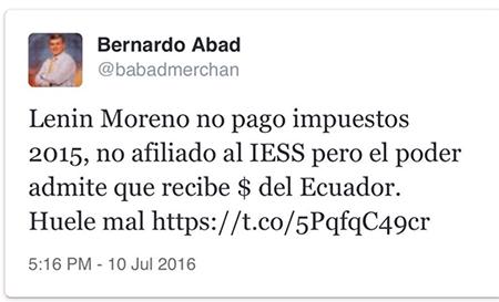 Suspenden cuenta de Twitter de periodista Bernardo Abad por decir que Lenin Moreno no pagó impuestos en 2015
