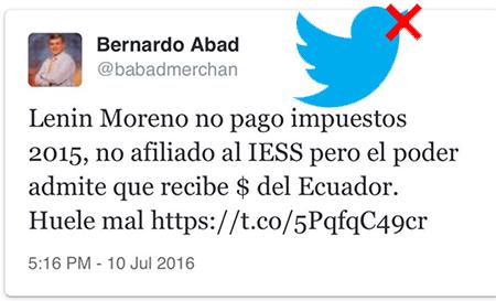 Represión en Twitter por comentar sobre Lenin Moreno