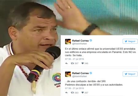 Correa, luego de que despotricó contra la UEES, ahora dice que fue un error del SRI (Video)