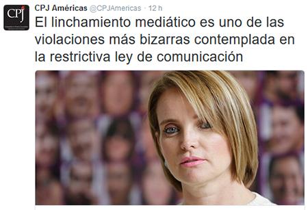 CPJ califica de «bizarra» la sanción por linchamiento mediático a periodista Janet Hinostroza