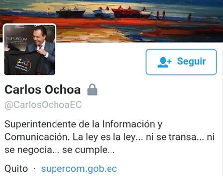 Irónico: Superintendente de Información y Comunicación bloquea su cuenta de twitter al público.