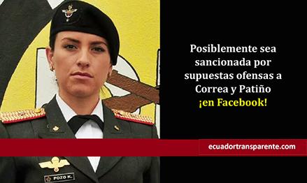 Teniente es acusada de realizar expresiones ofensivas contra Correa y Patiño en Facebook