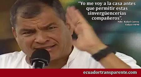 Correa amenaza nuevamente, con dejar el cargo si no sancionan a militares que supuestamente le ofendieron