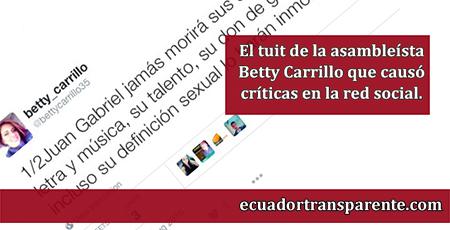 Asambleísta Betty Carrillo se despide de Juan Gabriel con un tuit algo inusual