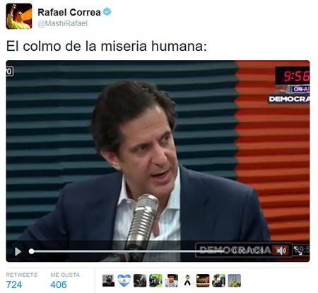 Presidente Correa califica de miseria humana a Juan Carlos Solines