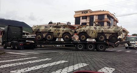 Denuncian la presencia de tanques de guerra en el Oriente ecuatoriano