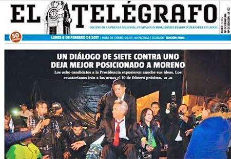 Diario El Telégrafo asegura que Lenin Moreno «salió mejor posicionado tras el debate»