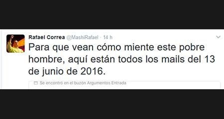 Correa pretende descalificar publicaciones de CAPAYA y publica email sin darse cuenta que le da la razón
