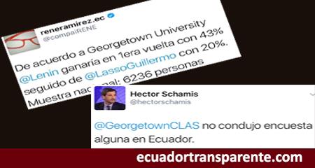 René Ramírez, secretario del Senescyt, presentó encuesta falsa de Georgetown.