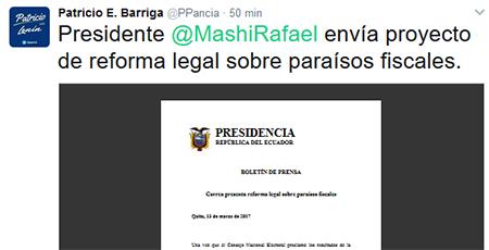 Correa envió a la Asamblea reforma legal sobre paraísos fiscales.