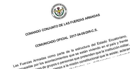 Comando Conjunto de las Fuerzas Armadas en comunicado expresa que son «obedientes y no deliberantes»