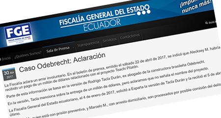 El sábado Correa llamó la atención a la fiscalía. El domingo fiscalía se retracta