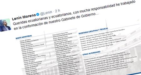 Lenín Moreno presentó su gabinete. Mantiene a varios funcionarios del correísmo.