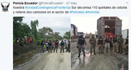 Policía decomisa 110 quintales de cebolla.