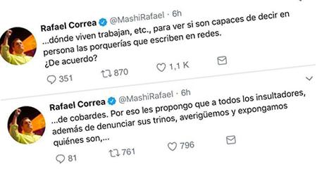 Correa pide a sus seguidores exponer los datos personales de quienes lo critican