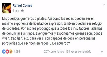 Facebook da de baja mensaje de Correa para proteger a sus usuarios