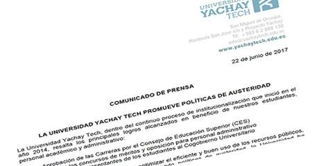 Mediante un comunicado, Universidad Yachay reconoce que existen autoridades que no imparten cátedra