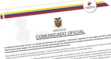 Gobierno ecuatoriano expresa su apoyo a la Constituyente de Maduro
