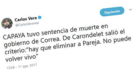 Según periodista Carlos Vera, gobierno de Correa habría tenido el criterio de «eliminar» a CAPAYA