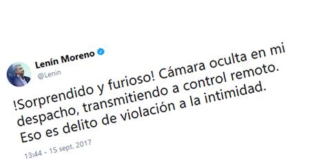 Lenin Moreno denuncia cámara oculta en su despacho (audio)