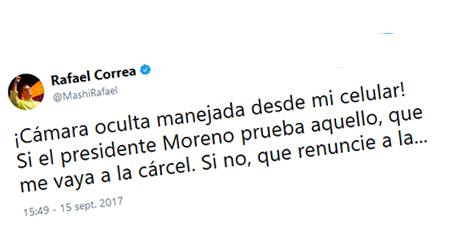 Correa reta a Lenin Moreno que pruebe que él lo espiaba