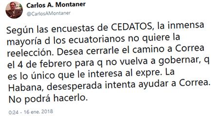 Carlos Alberto Montaner indica que desde Cuba se estaría ayudando a Rafael Correa