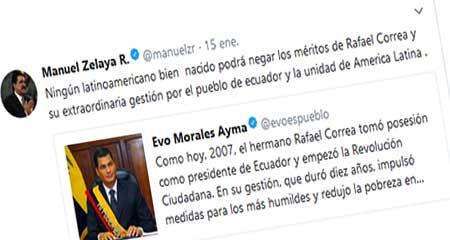 Evo Morales recuerda posesión de Rafael Correa. Zelaya lo apoya con faltas ortográficas