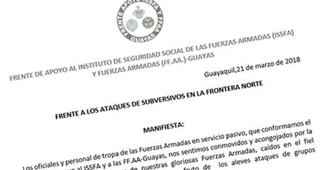 Militares en servicio pasivo piden remoción inmediata del Ministro de Interior, de Defensa y Alto Mando Militar