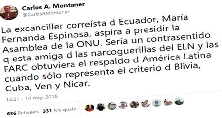 Carlos Alberto Montaner: María Fernanda Espinosa es amiga de las narcoguerrillas