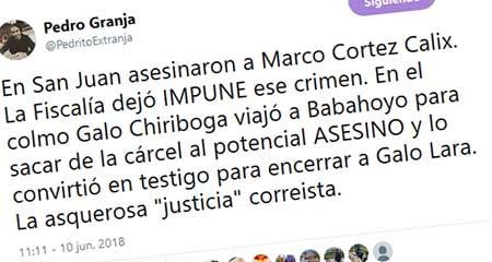 Pedro Granja señala al ex fiscal Galo Chiriboga de tomar un preso y convertirlo en testigo para acusar a Galo Lara