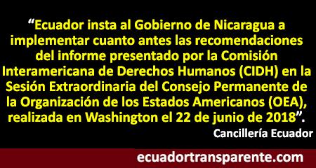 El Gobierno del Ecuador condena los actos de violencia suscitados en Nicaragua
