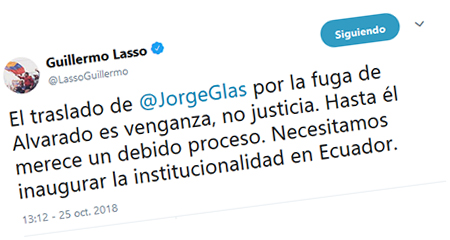 Guillermo Lasso dice que enviar a Jorge Glas a cárcel de Latacunga es venganza