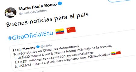 A María Paula Romo le parece que es buena noticia que el país esté mas endeudado con China
