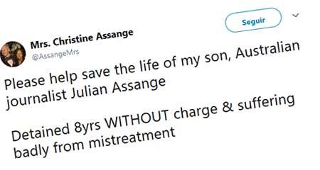 Madre de Julián Assange dice que su hijo ha estado 8 años DETENIDO sufriendo maltrato