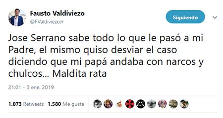 Hijo de periodista asesinado, Fausto Valdiviezo, afirma que José Serrano «sabe todo»
