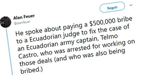 Periodista del New York Times afirma que se pagó 500 mil dólares a juez en caso Telmo Castro