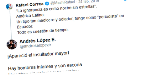 Periodista Andrés López responde insultos de Correa en Twitter